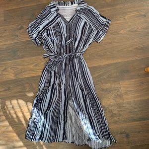 FASHION NOVA  navy blue striped midi dress XL